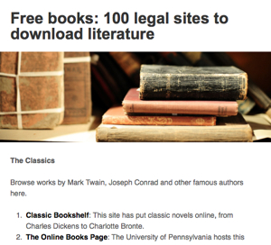 Resource of the Week: 100 Legal Sites to Download Literature