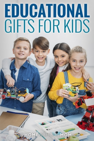4 preteens (2 boys and 2 girls) showing off robotics they have assembled with parts on a table in front of them; text Educational Gifts for Kids