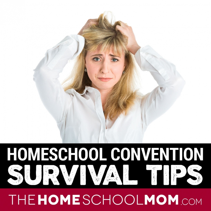 Frustrated woman looking at camera with text Homeschool Convention Survival Tips - TheHomeSchoolMom.com