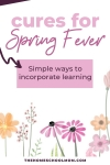 Illustration of spring flowers with text Cures for Spring Fever - Simple ways to incorporate learning - TheHomeSchoolMom.com