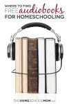 stack of books with headphones and text where to find free audiobooks for homeschooling