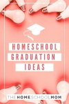 Background photo lightbulbs with text Homeschool Graduation Ideas with a graduation cap icon - TheHomeSchoolMom