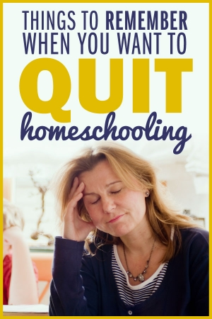 4 Things to Tell Yourself When You Want to Quit Homeschooling: Discouraged woman with hand on her forehead