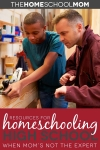 older man helping young man in wood workshop with text resources for homeschooling high school when mom's not the expert