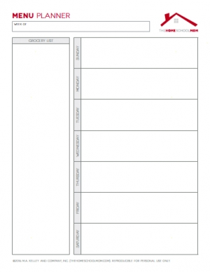 Homeschool Planner: Weekly Menu Planner (Unlined)