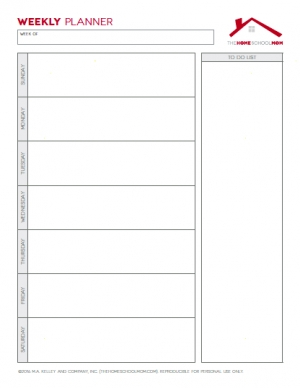 Free Homeschool Planner: Weekly Planner with To Do List (Unlined)