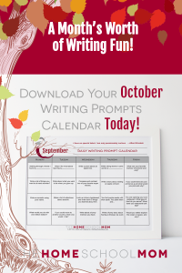October Writing Prompt Calendar