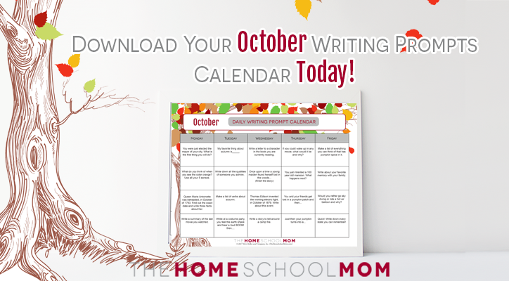 October Writing Prompt Printable Calendar