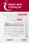 September Writing Prompt Printable Calendar