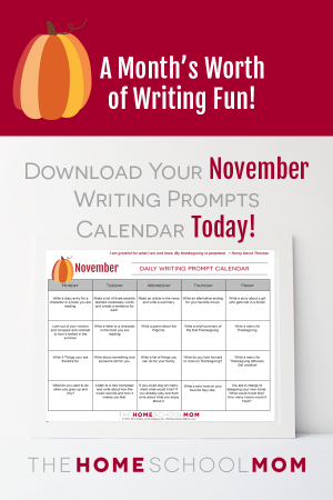 November Writing Prompts for Homeschoolers