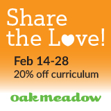 Save 20% on Oak Meadow Feb. 14-28, 2018