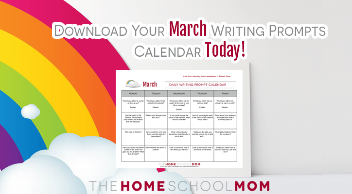 March writing prompt calendar