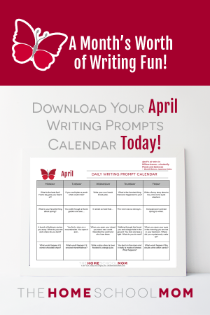 April Writing Prompt Calendar