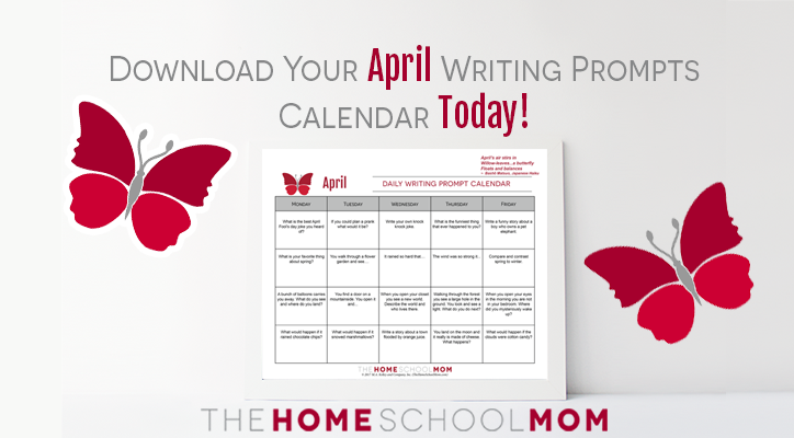 April Writing Prompts Calendar