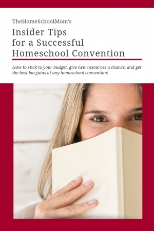 image of woman with lower part of her face behind an open book and text TheHomeSchoolMom's Insider Tips for a Successful Homeschool Convention