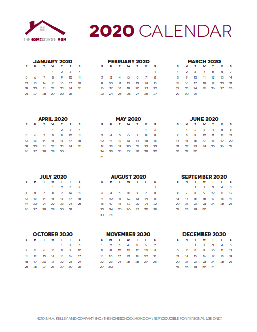 Homeschool Planner: Yearly Calendar Pages
