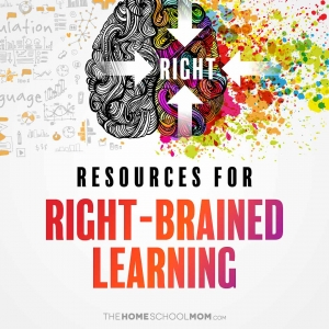 brain illustration with text Resources for Right-brained Learning