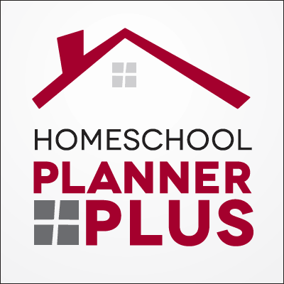 Logo of red roofline with grey window and text Homeschool Planner Plus