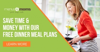 Woman chopping vegetables with text Menus4Moms Save time & money with our free dinner meal plans: Learn More
