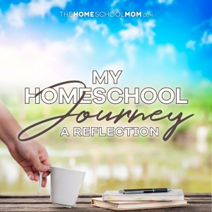 Hand holding a white mug with a tea bag and two stacked journals with a pen on a table outside and text My Homeschool Journey: A Reflection
