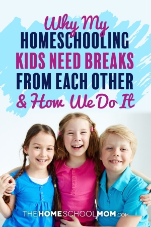 Three smiling children hugging each other and facing the camera with text Why my homeschooling kids need breaks from each other & how we do it