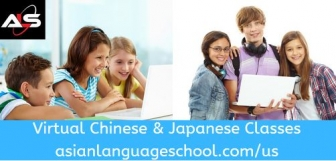 Left image shows a mother and her sone and daughter smiling and looking at a laptop; right image shows smiling teens holding a laptop; text Virtual Chinese & Japanese Classes