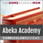 Background of globe & book with red cover and text Abeka Academy Reviews