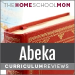 Background of globe & book with red cover and text Abeka Curriculum Reviews