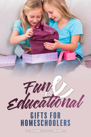 Young girls opening a package with text fun & educational gifts for homeschoolers