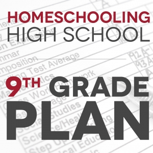 Faded background of a report card with text Homeschooling High School - 9th grade plan