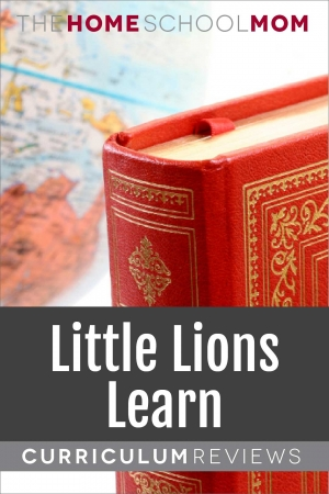 Image of globe and red book with text Little Lions Learn Curriculum Reviews