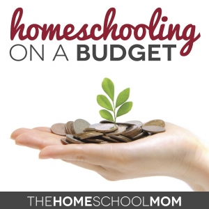 Image of upward facing hand full of coins with a seedline sprouting from the coins and text Homeschooling on a Budget: TheHomeSchoolMom