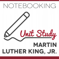 Illustration of pencil writing with text Notebooking Unit Study Martin Luther King, Jr.