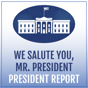 Illustration of the White House with text We Salute You, Mr. President: President Report - TheHomeSchoolMom