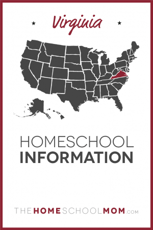 Map of US with Virginia highlighted in red and text Virginia Homeschool Information - TheHomeSchoolMom.com