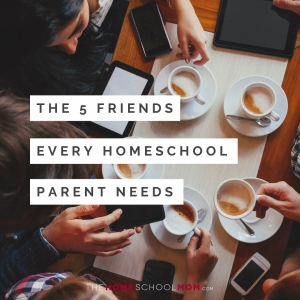 Overhead view of table at a cafe with people holding phones and coffee cups and text The 5 Friends Every Homeschool Parent Needs
