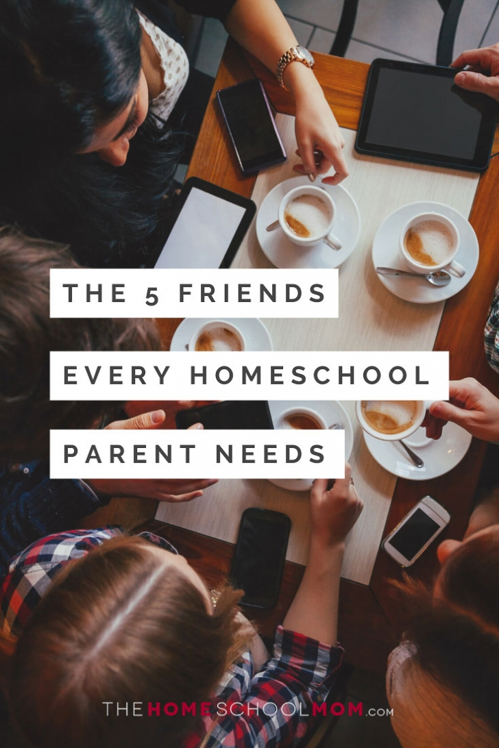 Overhead view of table at a cafe with people holding phones and coffee cups and text The 5 Friends Every Homeschool Parent Needs - TheHomeSchoolMom.com