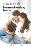 Image of two teens listeing to music in headphones with text A Day in the Life Homeschooling Teens - TheHomeSchoolMom