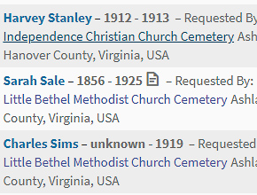 Find A Grave website screenshot showing list of memorials
