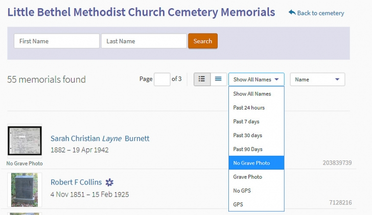 Screenshot of Find a Grave website showing list of memorials at a specific cemetery