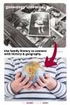 Top image of old family photos with text Genealogy Unit Study and a red arrow pointing to bottom image of a child's hands holding a globe and text Use Your Family History to Connect with History & Geography - TheHomeSchoolMom