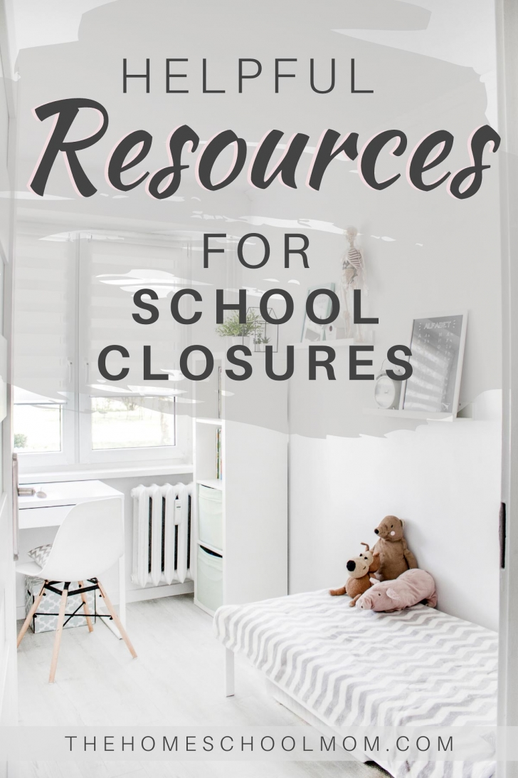 Background image of child's bedroom with text Helpful Resources for School Closures - TheHomeSchoolMom.com