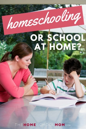 Woman supervising boy doing homework outside at a table with text Homeschooling or School at Home? TheHomeSchoolMom.com