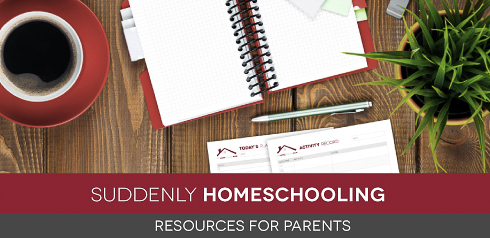 Overhead image of planning pages, organizer, coffee cup, pen, and plant on a wood surface with text Suddenly Homeschooling: Resources for parents