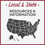 Map of USA with text Local & State Homeschool Resources & Information