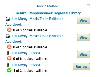screenshot of Library Extension add-on results for a book title
