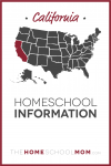 map of the US with California highlighted and text California Homeschool Information