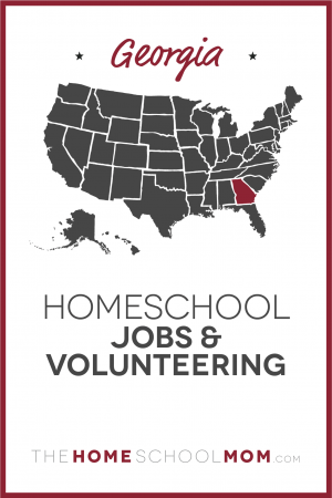 Map of US with Georgia highlighted in red and text Georgia Homeschool Jobs & Volunteering – TheHomeSchoolMom.com