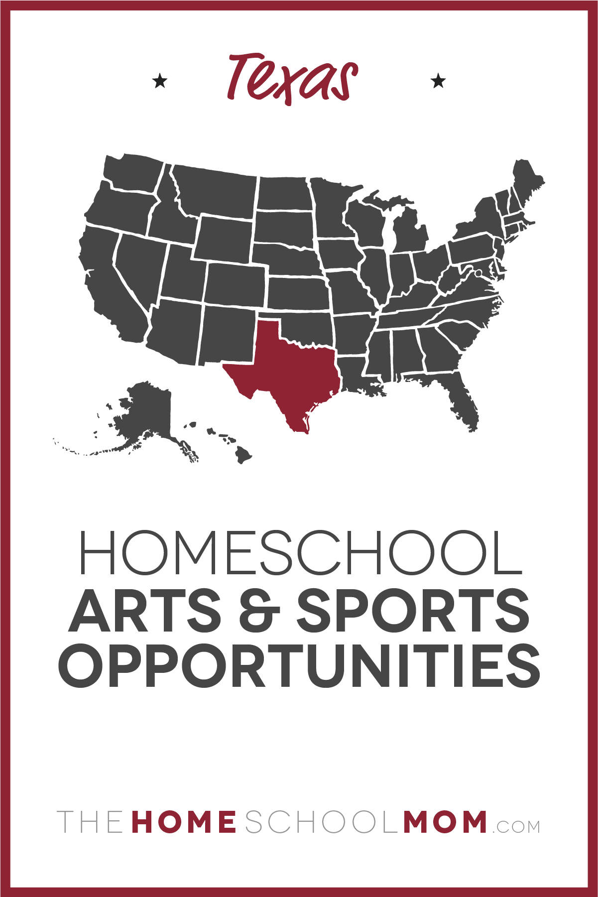 map of the US with Texas highlighted and text Texas Homeschool Arts & Sports