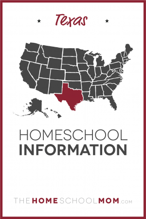 map of the US with Texas highlighted and text Texas Homeschool Information